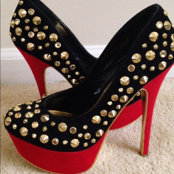 ea6088f1ecc Black Suede Gold Studded Pumps With Red Heel